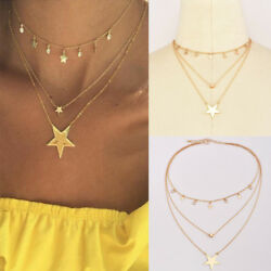 1pcs Women's Jewelry Multilayer Gold Plated Chain Choker Star Pendant Necklace