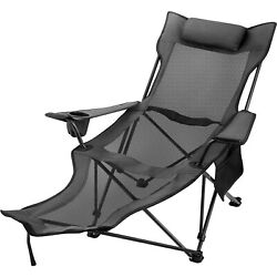 Grey Reclining Folding Camp Chair With Footrest Nap Chair Breathable Portable $44.95
