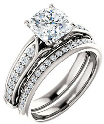 1.5 carat Cushion cut Diamond H color SI2 clarity Engagement 14K White Gold Ring