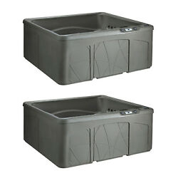 Life Smart 5 Person Outdoor Patio Hot Tub Spa w 28 Jets & Cover Taupe (2 Pack)