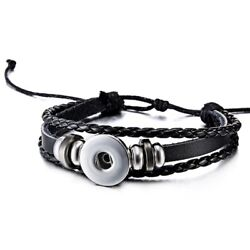 1 pcs Punk Snap Button Leather Bracelet Multilayer DIY Bangle Women Men Jewelry