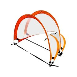 Pop Up Soccer Goal by F1TNERGY - 2 Premium Foldable Durable Orange Portable Nets $34.98