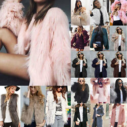 Winter Women Faux Fur Fluffy Coat Jacket Gilet Vest Waistcoat Warm Outwear Parka