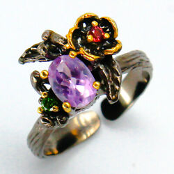 Outstanding Art! Natural Amethyst 9x7mm. 925 Sterling Silver Ring  RVS83