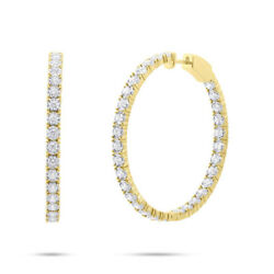1.90 CT 14K Yellow Gold Natural Round Diamond Inside Outside Hoop Earrings 1.50