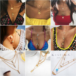 Fashion Women's Multilayer Clavicle Chain Necklace Pendant Charm Choker Jewelry