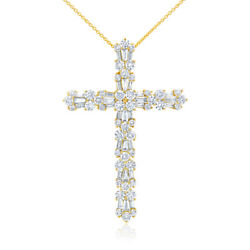 2.78 CT 14K Yellow Gold Natural Round Baguette Diamond Cross Pendant Necklace