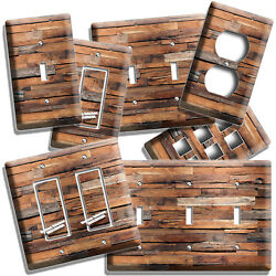 RUSTIC BARNWOOD RECLAIMED WOOD LOOK LIGHT SWITCH OUTLET PLATES RANCH BARN DECOR $9.99