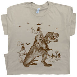Jesus Riding Dinosaur T Shirt Funny T Shirt Offensive Vintage Men Women Novelty $16.99