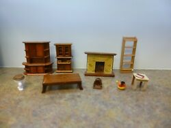Dollhouse furniture: wooden cabinets fire place tables toilet more!