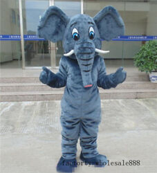 Fancy Elephant Mascot Costume Dress Outfit Suit Adults size birthday party Game
