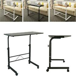 Protable Height Adjustable Laptop Table Stand Computer Desk Sofa Side Rolling $33.99