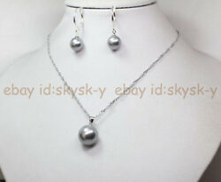 10mm 14mm Elegant South Sea Gray Shell Pearl Necklace Pendant Earrings Set 17