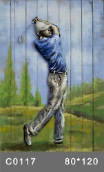 Golfer 3 D Oil Painting Wall Decor Metal And Wood Canvas Office Decoration Deco $259.00