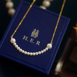 Gorgeous 3-6mm natural south sea white round Pearl necklace 14k Gold plating(w)