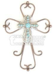 Metal Decorative Wall Cross Curly Round Bars Layered Silver Turquoise Concho 12quot; $22.95