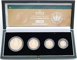 2002 Great Britain Golden Jubilee Sovereign Gold Proof 4 Coin Set Box Coa