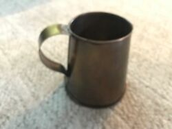 Vintage Antique Brass or Copper Beer Mug Tankard Cup Soldered Handle + Bottom