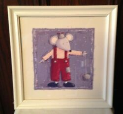 Mouse With Yo Yo art print wall white framed for nursery child room $9.99