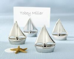 192 Beach Sailboats Silver Place Card Photo Holder Wedding Shower Party Favors
