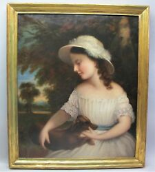 Outstanding EARLY AMERICAN Oil Painting  Young Girl w Dog  c. 1830s  antique