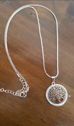 Hot Tree of Life Crystal Round Small Pendant Necklace Gold Silver Colors