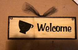 country kitchen coffee welcome primitive wall art farmhous decor wood sign 4x12quot; $8.99