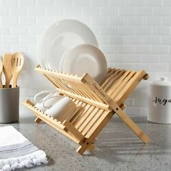 Foldable Kitchen Drying Rack Dish Drainer Wooden Bamboo Home RV Portable