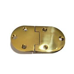 Brushed Brass English Butler Tray Hinge with Round Ends Oval Cast Solid Brass