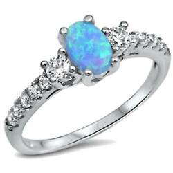 *** Oval Blue Fire Lab Opal  w Brilliant CZ Accents_925 STERLING SILVER_SZ-5