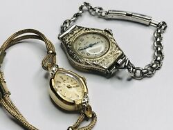 Vintage Ladies Omega 14K Gold Swiss Made And Engraved Art Deco Elgin Watch Lot 2