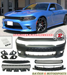 SRT 8 Hellcat Style Front Bumper w Grill w Fog Covers Fit 15 21 Dodge Charger $559.99
