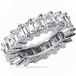 5 carat Platinum Emerald cut Diamond Eternity Ring Band Size 9.5 F-G VS1