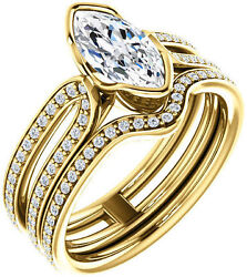1.00 carat total Marquise cut center Diamond Engagement 14k yellow Gold Ring