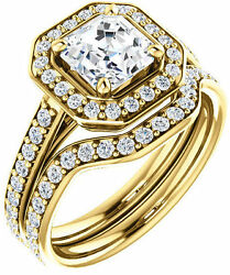 1.93 carat Asscher & round Diamond Halo Engagement 14k Yellow Gold Halo Ring