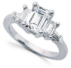 3.00 ct total 3 Stone Emerald Cut Diamond Baguettes Ring G SI1 14k White Gold