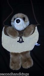 A amp; A PLUSH NOVELTY GIRLS ANIMAL SHAPED BEIGE amp; BROWN PURSE $12.00