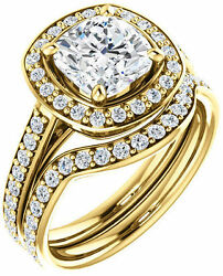 1.93 carat Cushion & Round cut Diamond Halo Engagement 14k Yellow Gold Ring