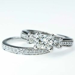 1.00ct GIA Princess Cut Diamond w Accents Engagement Bridal Set 18K White Gold