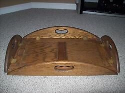 Vintage Butler Tray Drop Sides Solid Wood Brass Hinges
