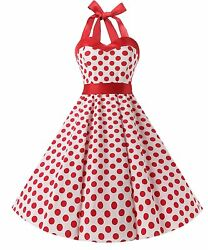 US Women's Vintage 1950s Rockabilly Polka Dots Audrey Dress Retro Cocktail Dress