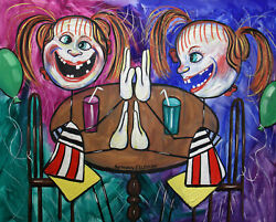 TWINS ORIGINAL PAINTING YOUNG GIRLS PLAYING COLORFUL HEAVY PAINT ANTHONY R FALBO