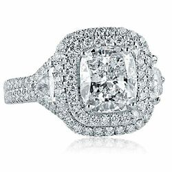 3.79 Ct F-SI1 Cushion Cut Trillion Diamond Engagement Halo Ring 18K White Gold