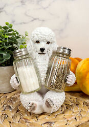 White French Poodle Puppy Pet Dog Glass Salt And Pepper Shakers Holder Figurine $22.99