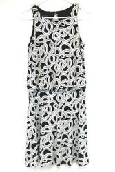 GNW Black White Swirl Keyhole Back Empire Loose Waist Dress Cocktail Size 4 $8.50