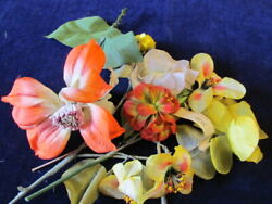 Vtg Millinery Flower Collection Yellow Ivory Orange 1-4