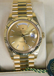Unworn Rolex Day-Date 18ct Yellow Gold 40mm Watch REF 228238 Box
