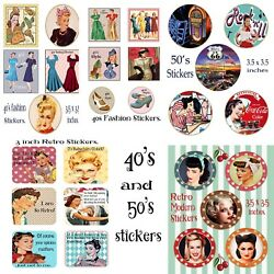 Retro 40s and 50s modern stickers. Choose one A4 Sheet GBP 2.35