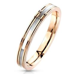 Stainless Steel Mother of Pearl Center Stripe Rose Gold Wedding Band Ring