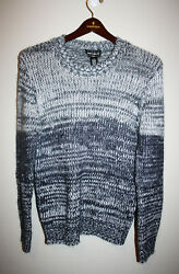 NEW Mens FOR THE REPUBLIC Gray White Knit Mohair Wool Crewneck Sweater Small S $19.97